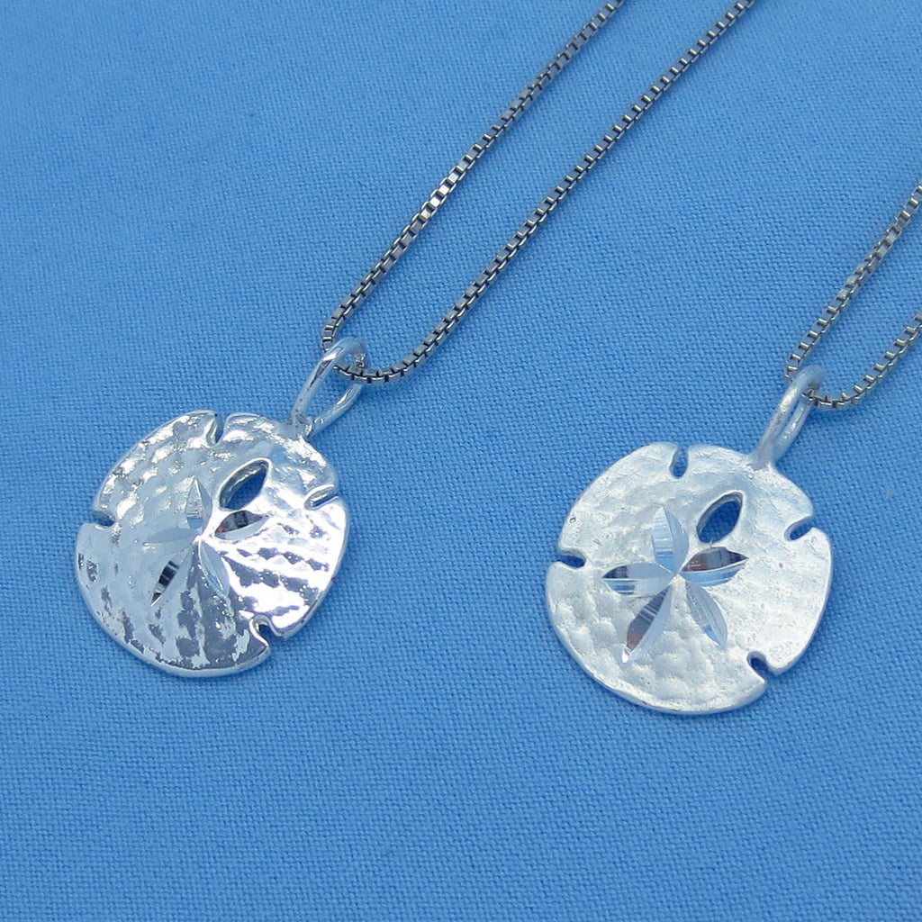 "Small Sterling Silver Sand Dollar Necklace - Polished or Satin Finish - 16"" 18"" 20"" 22"" or 24"" -- sa160338"
