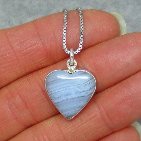 Small Blue Lace Agate Heart Necklace - Sterling Silver - Handmade - p150809