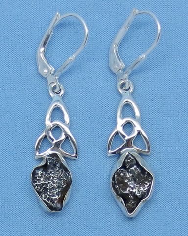 Meteorite Earrings Celtic Sterling Silver Leverback Trinity Knot - Campo del Cielo - Long Dangles - 4.4g -- su171319
