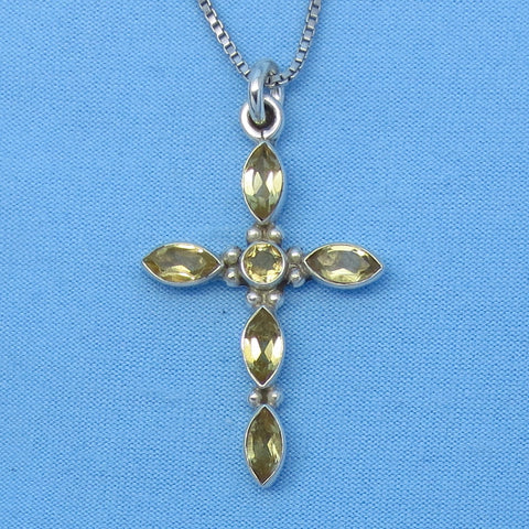 Small Genuine Citrine Cross Pendant Necklace - Sterling Silver - cbn151103c
