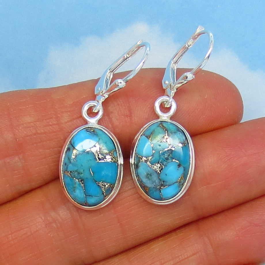 Small Natural Arizona Mojave Blue Turquoise Leverback Earrings - Silver Infused Turquoise - Sterling Silver - Simple Oval - Genuine 171557A Copper Turquoise