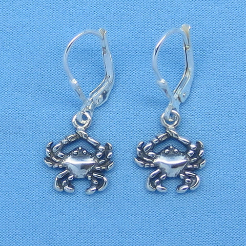 Tiny Sterling Silver Crab Earrings - Leverback - 3-D - Beach - Ocean - Cancer Crab - Astrology - Horoscope - Zodiac - Small - c160739