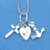 "Sterling Silver Faith Hope Charity Love Necklace - Cross Heart Anchor - 16"" 18"" 20"" 22"" or 24"" - p150277"