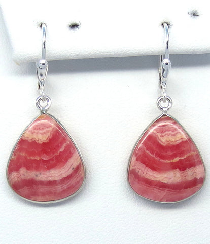 Argentina Rhodochrosite Earrings - Leverback - Pear Shape - Genuine Rhodochrosite - Natural Rhodochrosite - 162069