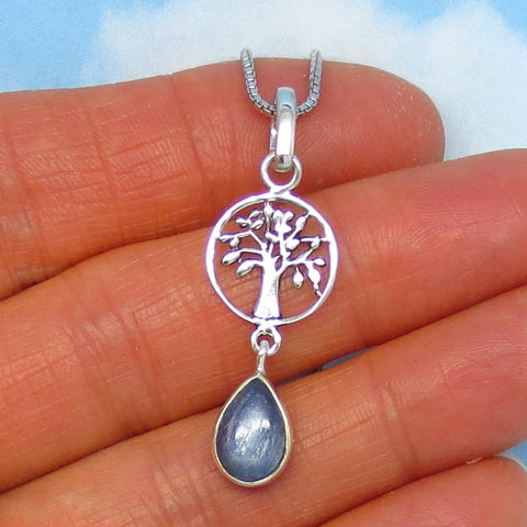 Natural Kyanite Tree of Life Pendant Necklace - Sterling Silver - Small - Dainty - Pear Shaped - Genuine Kyanite - Celtic - p161106