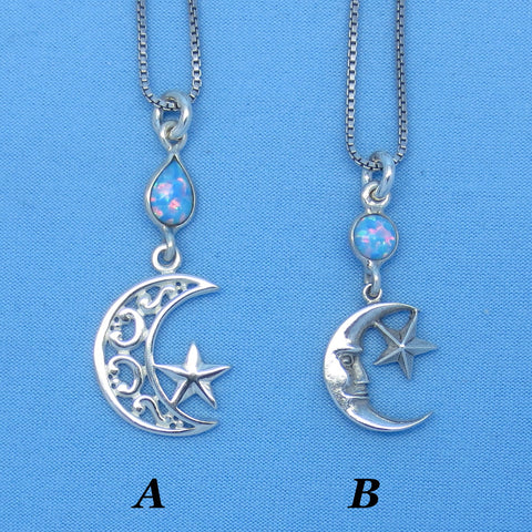 Lab Opal Moon & Star Necklace - Sterling Silver - Pale Blue Created Opal - Filigree - Zodiac Sign Cancer --  su171108