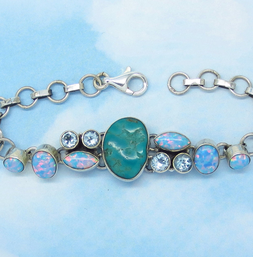 "Natural Arizona Turquoise Bracelet - Sterling Silver - Genuine Arizona Turquoise Nugget - Adjustable 6"" to 7-1/2"" - jy153506"