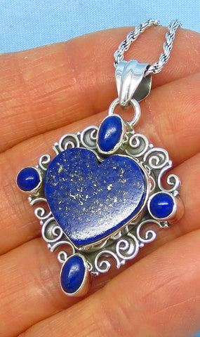 Genuine Lapis Lazuli Heart Pendant Necklace - Sterling Silver - Filigree - Large - Blue - Antique Vintage Design - p151708