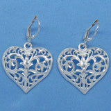 Sterling Silver Large Filigree Heart Earrings - Leverback - Sparkly Diamond Cut - su150982