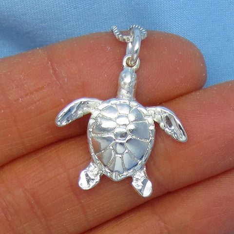 Sterling Silver Sea Turtle Pendant Necklace - 3-D - Shiny Polished Finish - p200536