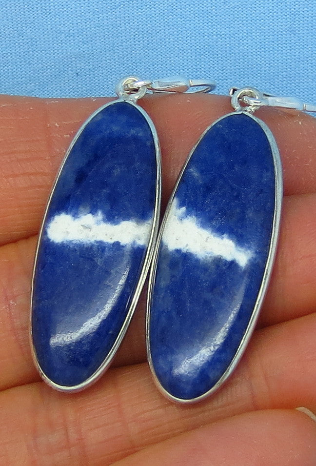 "Montana Sodalite Earrings - Leverback - Sterling Silver - 2"" Long Oval Dangles - 171603"