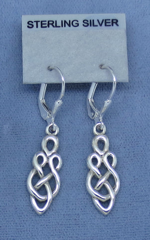 Celtic Knot Earrings - Leverback - Sterling Silver - Marquise - Harp - Love Knot - Endless - Irish - Filigree - Long -- 180772