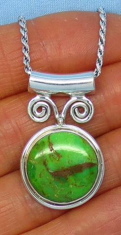 Mojave Green Turquoise Pendant Necklace - Sterling Silver - Round - Bali Design - sa151849