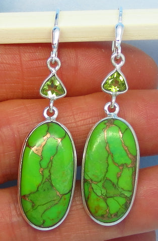 Mojave Green Copper Turquoise Earrings - Leverback - Sterling Silver - Genuine Peridot Accent - Long Dangle - 161507