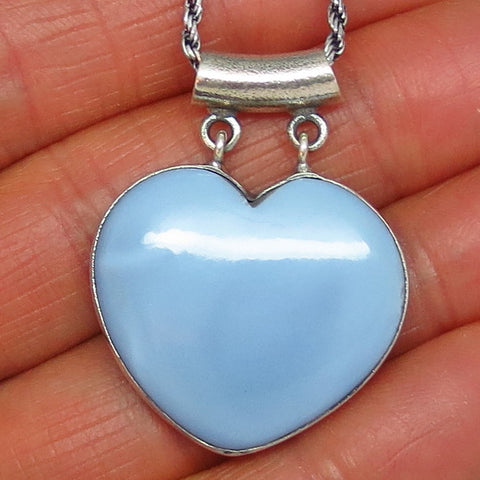 Large Owyhee Opal Heart Pendant Necklace - Sterling Silver - Handmade - Idaho Opal - p141407