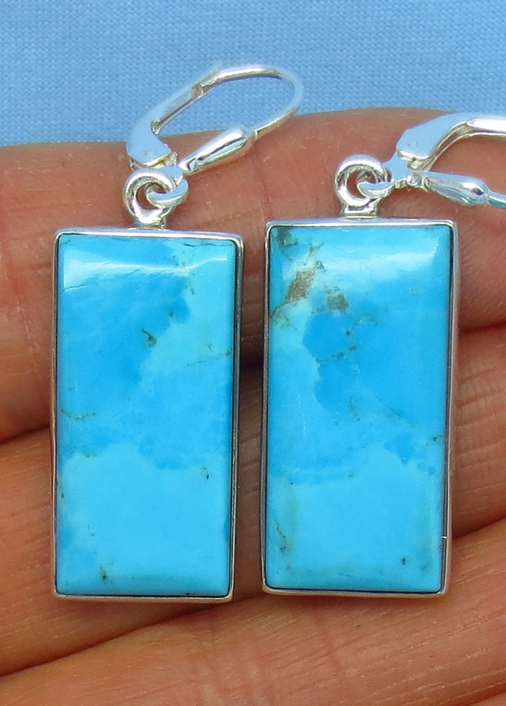 Blue Mojave Turquoise Earrings - Leverback - Sterling Silver - Rectangle - Arizona Turquoise - Robin's Egg Blue - 7.8g - su152603