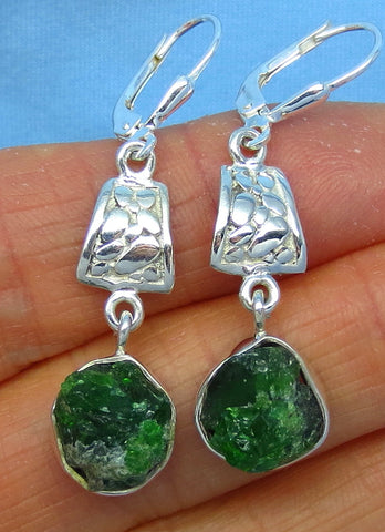 Genuine Emerald Earrings - Rough Crystals - Natural Raw Emerald - Sterling Silver - Leverback - Long Dangles - Boho - 172219