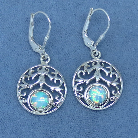 Lab Opal Filigree Earrings - Sterling Silver - Leverback - Pale Blue - Round - 261225