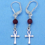 Teeny Tiny Genuine Ruby Ankh Earrings - Leverback - Sterling Silver - Raw Ruby - Egypt - Travel - Cross - 160934