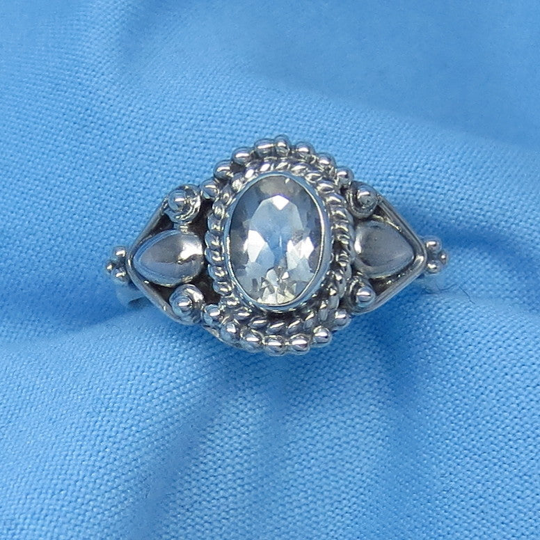 Size 7 Genuine Natural White Topaz Ring - Sterling Silver - 1.0ct - 7 x 5mm Oval - Victorian Filigree Bali Design - sa161106-pr