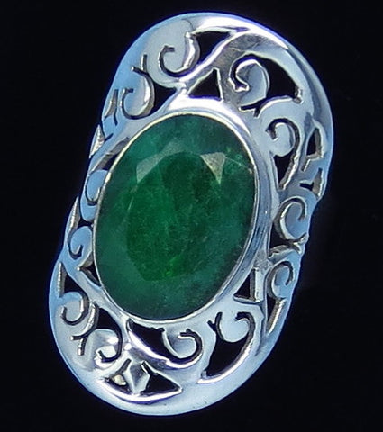 4.65ct Size 6 1/2+ Genuine Emerald Ring - Sterling Silver - Jali Filigree - Victorian Design - 181758