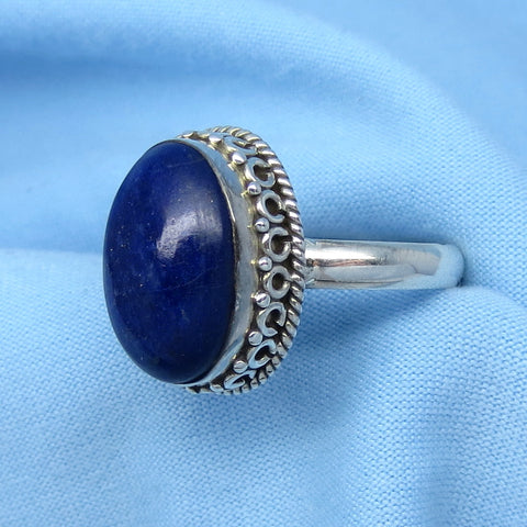 Size 6-1/2 Lapis Lazuli Ring - Sterling Silver - Oval - Victorian Filigree Boho Bali Design - Gothic Ring - 171205