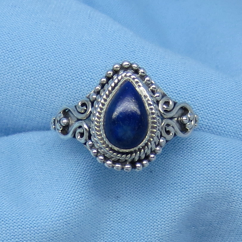 Size 6 Genuine Lapis Lazuli Ring - Sterling Silver - Pear Shape - Victorian Filigree Boho Design - Gothic Ring - 171202