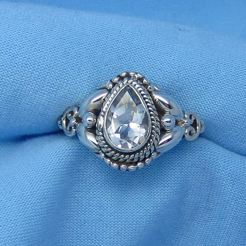 Size 7 Genuine Natural White Topaz Ring - Sterling Silver - 1.5ct - 9 x 6mm Pear Shape - Victorian Filigree Bali Design - sa161106