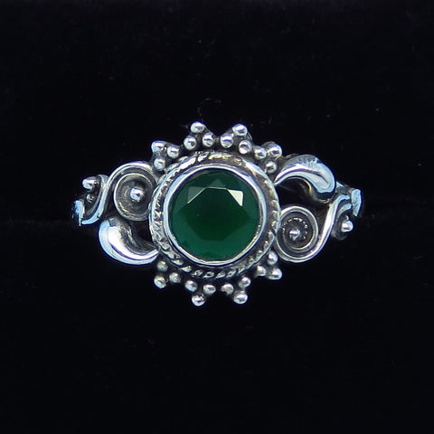 .80ct Size 8 Genuine Emerald Ring - Sterling Silver - Victorian Filigree - Bali Boho Gothic Ring - Natural Emerald - sa161353