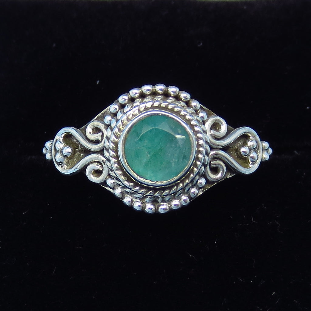 .80ct Size 9 Genuine Emerald Ring - Sterling Silver - Victorian Filigree - Bali Design - Raw Emerald - p171257