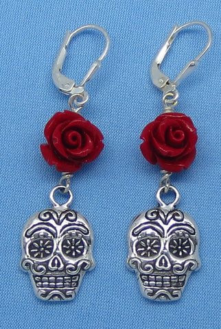 Sterling Silver Sugar Skull Red Rose Earrings - Leverback - Day of the Dead - Dia de los Muertos - 161063