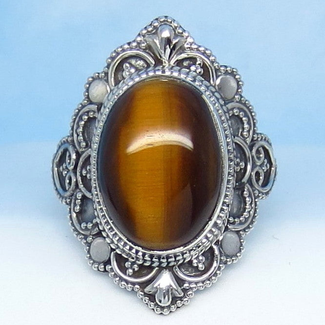 Size 10 Tiger Eye Ring - Sterling Silver - Victorian Filigree Design - Bali Boho Antique Design - Gothic Ring - sa161853