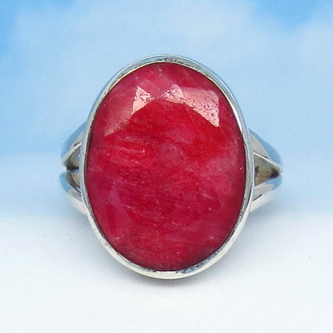 6.7ct Size 6 Natural Ruby Ring - Sterling Silver - India Raw Genuine Ruby - Simple - Oval - Large - Contemporary - rr0024-12