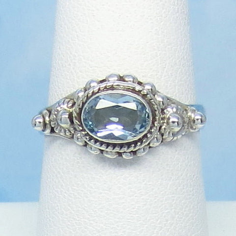 1.1ct Size 7-3/4 Natural Sky Blue Topaz Ring - Sterling Silver - East West Horizon - 7 x 5mm Oval - Victorian Design - Genuine - jy191219av