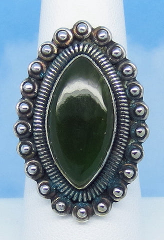 "Size 7 Natural Nephrite Jade Ring - Genuine - Sterling Silver - Large - Marquise - 1-1/4"" Tall - Gothic - jy171301"