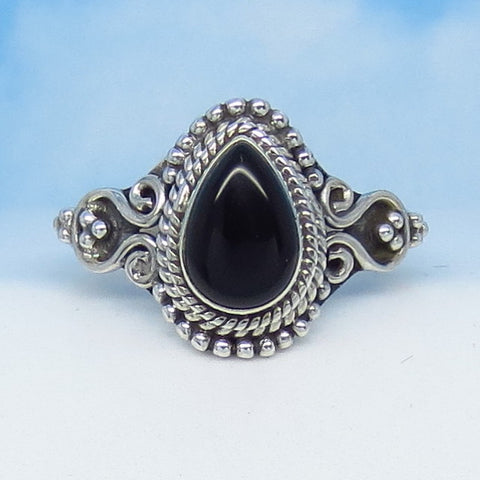 Size 8 Natural Genuine Black Onyx Ring - Sterling Silver - 9 x 6mm Pear - Vintage Victorian Antique Filigree Design - SA171506
