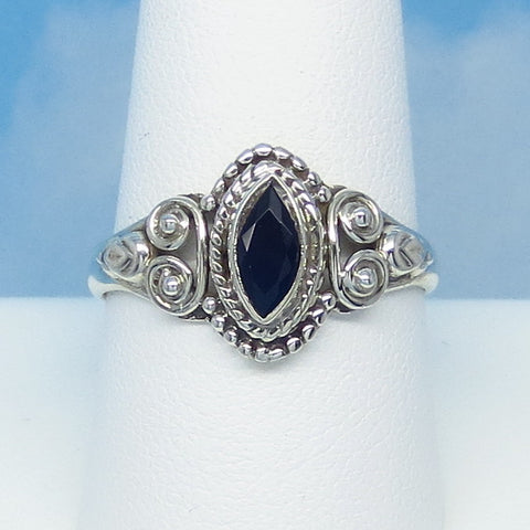 Size 9-3/4 .75ct Natural Sapphire Ring - Sterling Silver - Marquise - Victorian Filigree - Bali Boho Gothic Ring - Genuine - 0012-01