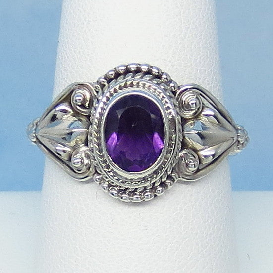 "1.25ct Size 9 Natural Amethyst Ring - Sterling Silver - Victorian Antique Design - Leaf Motif - 8 x 6mm Oval - 9/16"" Tall - jy990728ame"
