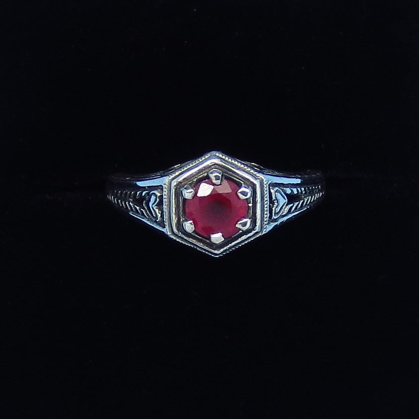 Size 5 - .60ct - Genuine Ruby Victorian Filigree Ring - Sterling Silver - Gothic - Heart - c263003