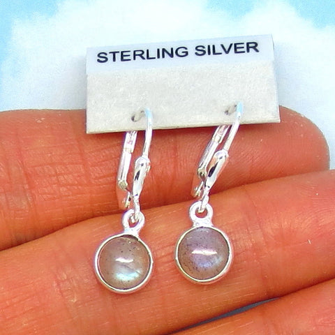 Teeny Tiny Labradorite Earrings - Leverback - Sterling Silver - 7mm Round - Small - Lightweight - 170808