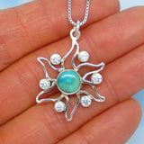 Natural Mojave Blue Turquoise Sun Pendant Necklace - Sterling Silver - Small - Natural - Genuine - p160858