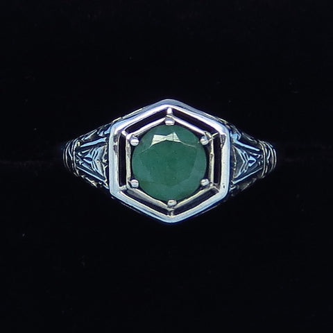 Genuine Emerald Ring - Sterling Silver - Victorian Filigree - Art Nouveau -Art Deco - Gothic Ring