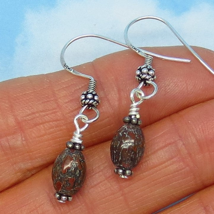 Small Agatized Dinosaur Bone Fossil Earrings - Sterling Silver - Long Dangle - Bali Silver Beads - Boho Bohemian Gypsy - Minimalist
