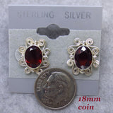 Sajen 9 x 7mm Genuine Garnet Earrings - Sterling Silver - Large Posts - Studs - Filigree - Hand Made in Bali