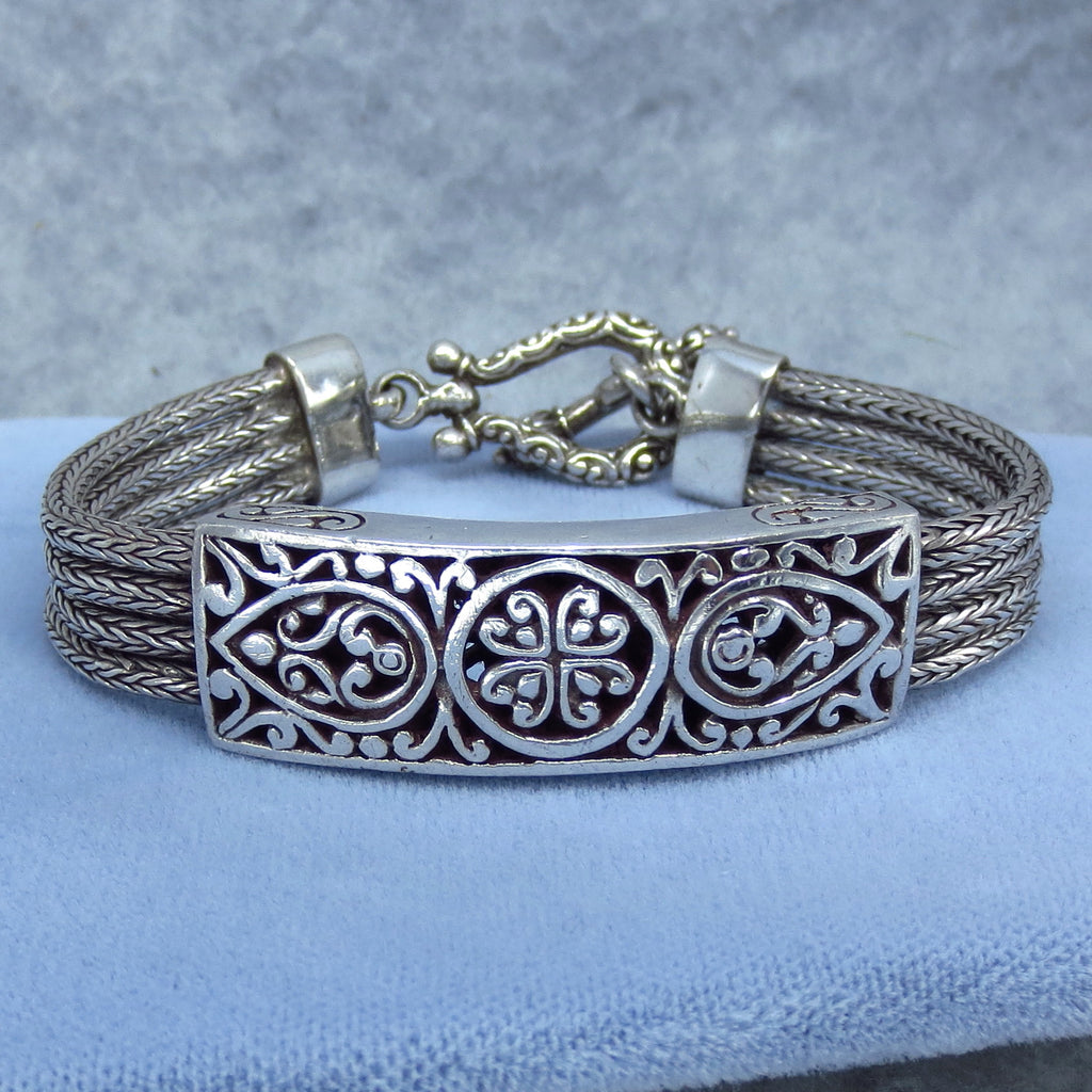 "7.5"" Bali Statement Bracelet - Byzantine Wheat Spiga - Filigree - Sterling Silver - 364989"