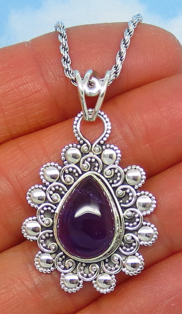 Natural Amethyst Pendant Necklace - Sterling Silver - Filigree - Pear Shape - Genuine Amethyst - Purple Amethyst -  p151128