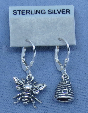 Honey Bee and Beehive Skep Earrings - Sterling Silver - Leverback - Hand Made -- P1048