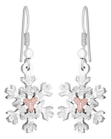 Landstrom's Black Hills Gold on Sterling Silver Snowflake Earrings - 12K Rose Gold Accents -  Handmade - MRLER972