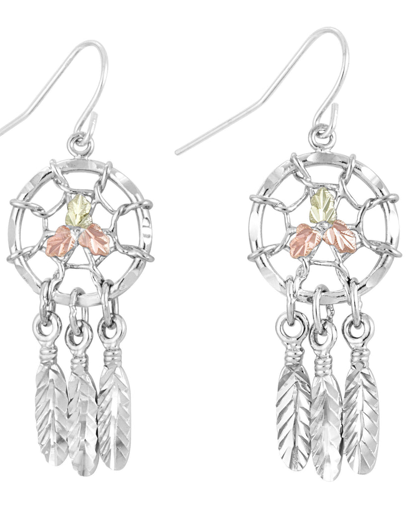 Landstrom's Black Hills Gold on Sterling Silver Dreamcatcher Earrings - 12K Gold Accents - Dangles - Handmade - MRLER866
