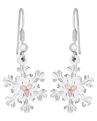 Landstrom's Black Hills Gold on Sterling Silver Snowflake Earrings - 12K Gold Accents - White Powder Coated - Handmade - MRLER972-wht
